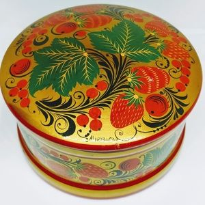 Russian hand-painted Lacquer box Large Khokhloma